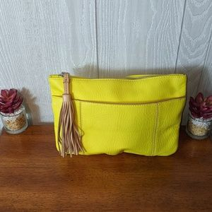 EUC Banana Republic yellow leather make up bag